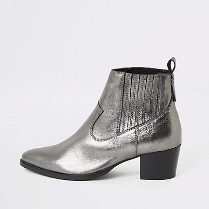 River Island Silver metallic leather western ankle boots