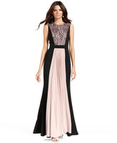 JS Collections Contrast Lace-Panel Pleat Gown