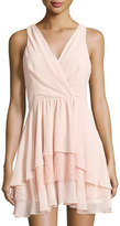 BCBGeneration Lace-Trim Woven Cocktail Dress, Light Pink