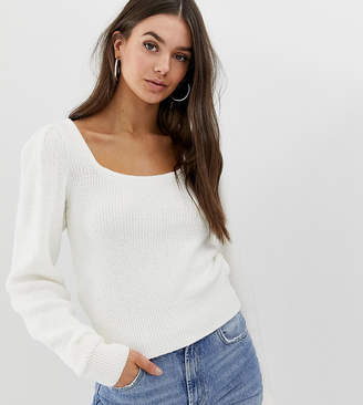 Asos Tall DESIGN Tall chunky scoop neck jumper with full sleeve-Cream