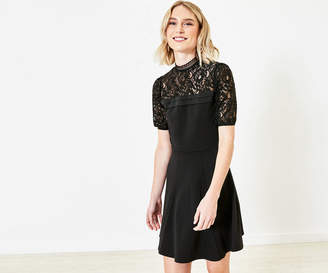 Oasis Lace Pintuck Skater Dress