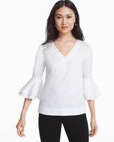 White House Black Market The Carmen White Bell Sleeve Poplin Top