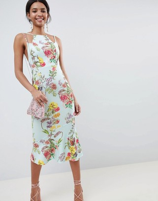 ASOS DESIGN double strap cami floral midi bodycon pephem dress