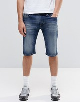 Diesel Denim Shorts Thashort Slim Fit In Dark Vintage Wash