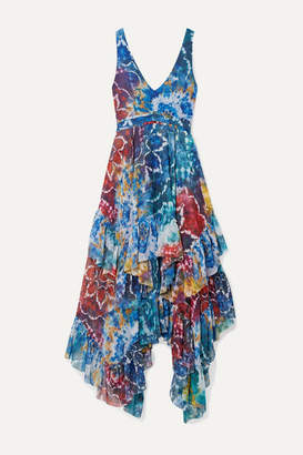 Alice + Olivia Ilia Ruffled Printed Georgette Midi Dress - Blue