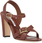Manolo Blahnik Rioso Leather Block-Heel Buckle Sandals