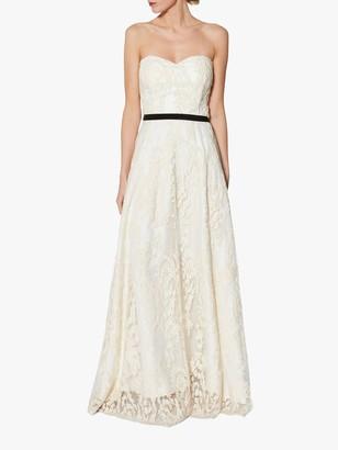 Gina Bacconi Mariah Bandeau Lace Overlay Maxi Dress, Cream