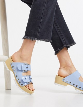 Calvin Klein Vancy chunky cleated clogs in blue