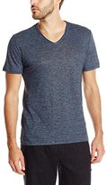Vince Men's Linen Feeder Stripe Short-Sleeve V-Neck T-Shirt