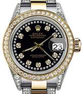 Rolex Oyster Perpetual Datejust with Black String Diamond Dial Women's Watch 31mm