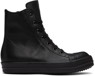Rick Owens Black Capped High-Top Sneakers