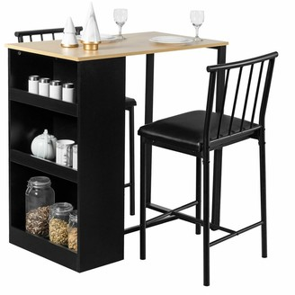 Overstock Gymax 3 Piece Counter Height Pub Dining Set Kitchen Table & Chairs w/
