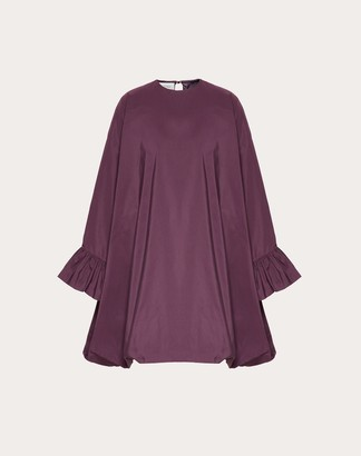 Valentino Micro-faille Cape Dress Women Real Purple Polyester 46% 36