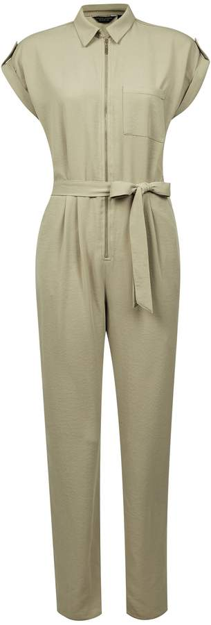 Dorothy Perkins Womens Khaki Short Sleeve Boilersuit