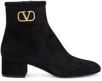 Valentino VLogo 45 black suede ankle boots