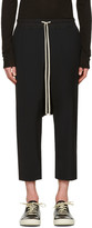 Rick Owens Black Drawstring Cropped Trousers