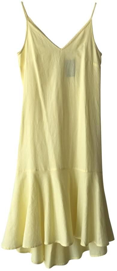 MANGO Yellow Linen Dress for Women