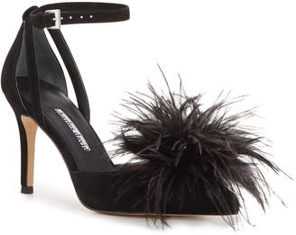 Charles David Violate Ankle-Strap Feather Pumps