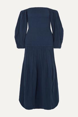 Rhode Resort Harper Off-the-shoulder Smocked Cotton-gauze Maxi Dress - Navy