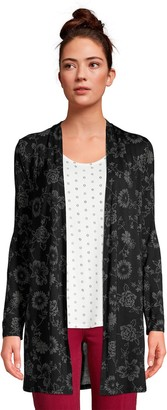 Lands' End Women's Draped Long Open-Front Cardigan