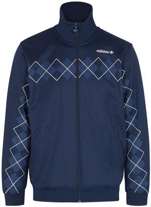 adidas Navy printed cotton-blend track jacket