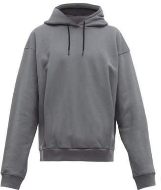 Martine Rose Logo Embroidered Cotton Hooded Sweatshirt - Mens - Grey