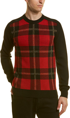 Balmain Tartan Wool-Blend Crewneck Sweater