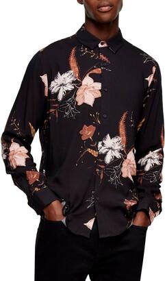 Topman Winter Floral Print Button-Up Shirt