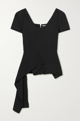 Roland Mouret Irene Asymmetric Draped Stretch-crepe Top - Black