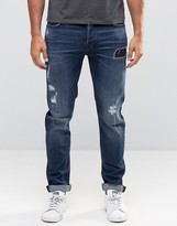 Only & Sons Mid Blue Jeans With Rip Repair Detail In Slim Fit