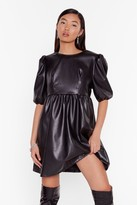 Nasty Gal Womens Faux Leather You're in or Out Puff Mini Dress - black - 4
