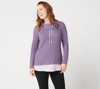 Denim & Co. Active Petite Waffle Knit Color-Blocked Tunic