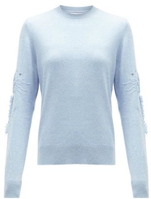 Barrie Embroidered-sleeve Cashmere Sweater - Light Blue