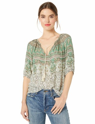 Lucky Brand Women's Printed Kelly Peasant TOP