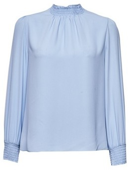 Dorothy Perkins Womens Petite Pale Blue Shirred Neck Top, Blue