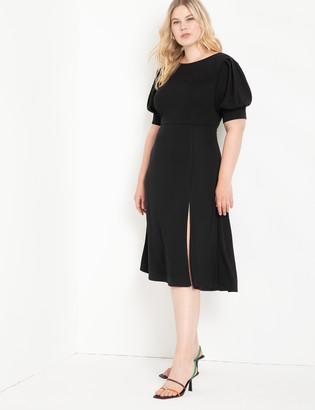 ELOQUII Puff Sleeve Cowl Back Dress