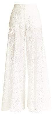Carolina Herrera Women's Lace Eyelet Extra Wide-Leg Pants