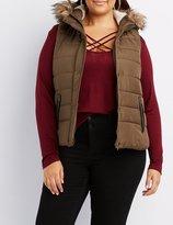 Charlotte Russe Plus Size Faux-Fur Trim Hooded Puffer Vest