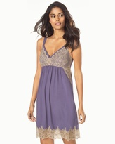 Soma Intimates Sleep Chemise Grape With Soft Tan Lace