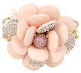 Betsey Johnson Crystal and Faceted Stone Flower Hinged Bangle Bracelet
