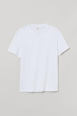 H&M Regular Fit V-neck T-shirt - White