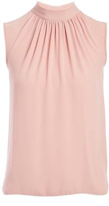 Minna Women's Blouses rose - Rose Mock Neck Sleeveless Top - Women & Plus