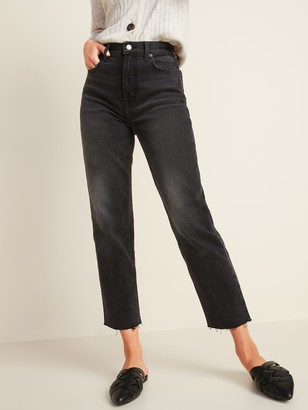 Old Navy Extra High-Waisted Sky-Hi Straight Raw-Hem Black Jeans for Women