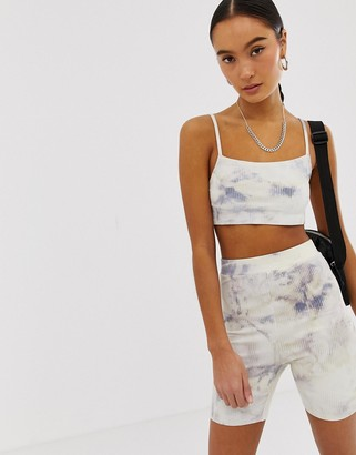 Emory Park ribbed cami crop top in marble co-ord