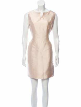 Oscar de la Renta Sleeveless Split Neck Dress Champagne