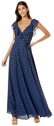 Yumi Kim Iris Maxi Dress (Lurex Swiss Dot Navy) Women's Dress
