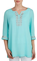 Peter Nygard 3/4 Sleeve Embroidered Tunic