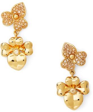 Kate Spade Precious Pansy Pave Drop Earrings