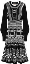 Temperley London Black And White Stretch-knit Midi Dress