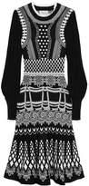 Temperley London Black And White Stretch-knit Midi Dress